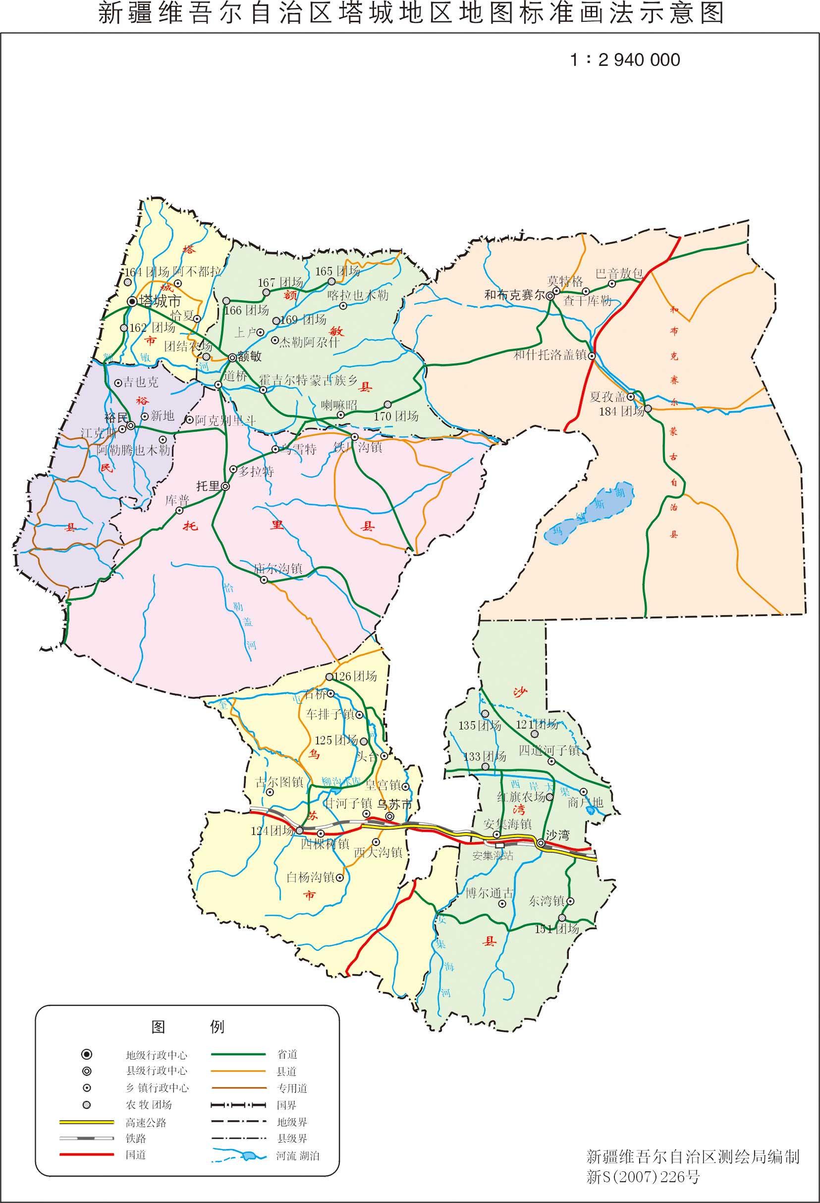 新疆塔城地区政区地图
